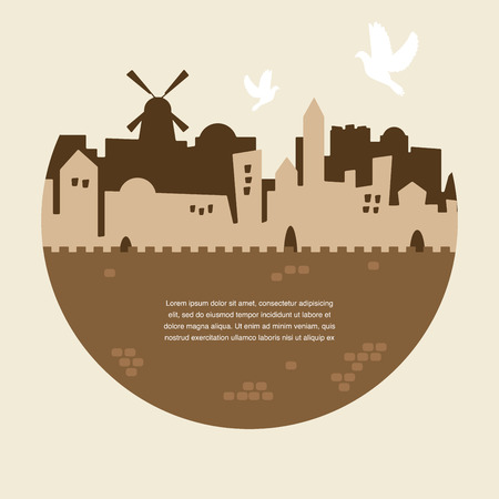 jeruzalem: skyline van oude en heilige stad Jeruzalem met Klaagmuur