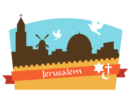 crusades: View on the landmarks of Jerusalem Old City. illustration