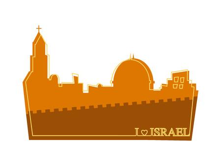 palestine: View on the landmarks of Jerusalem Old City. illustration