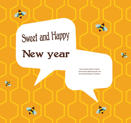 nappy new year: pattern of the bee on honeycombs  background