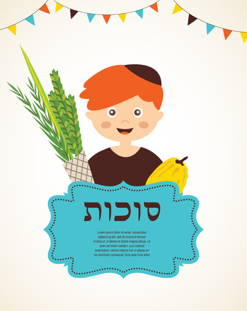boy holding the Four  species. sukkot in Hebrew