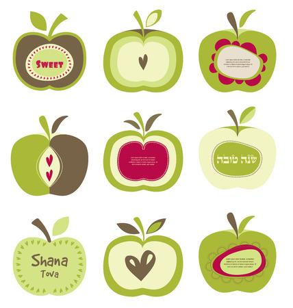 jewish people: cute bright colorful retro apple set for Jewish new year, rosh hashanah . happy new year  in Hebrew