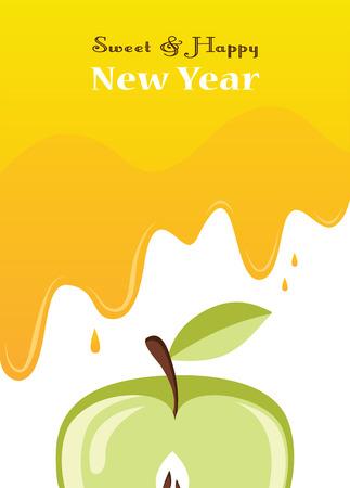 rosh: honey drips over an apple.  Rosh hashanah card