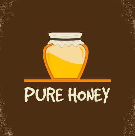 curative: retro illustration. pure honey isolated jar. vector Illustration