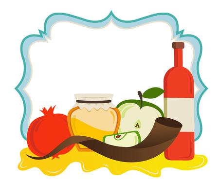 ユダヤ人の新年のアイコンと食品のセットでビンテージ フレーム