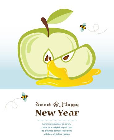 rosh: happy new year, rosh hashanah Illustration