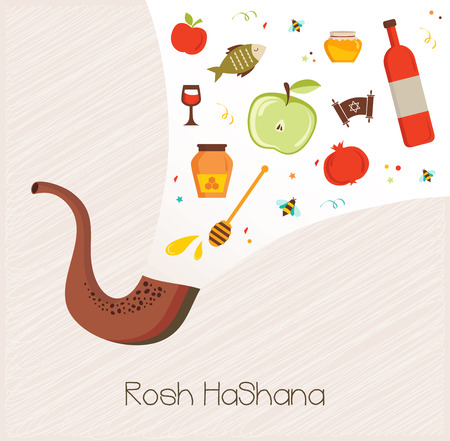 yom: shofar ,horn, with set of icons over textured background.