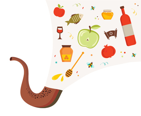yom kippur: shofar ,horn, with set of icons over textured background.