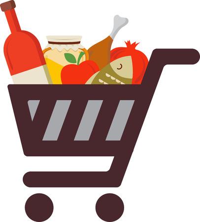 新年祭の伝統的な食べ物とショッピング カート。  イラスト・ベクター素材