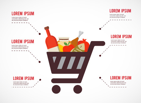 supermarket trolley: infographics  of shopping cart with rosh hashanah traditional food.