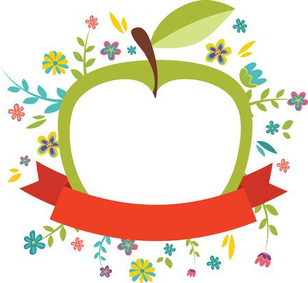 frisse lente bloemen rond een groene appel Stock Illustratie