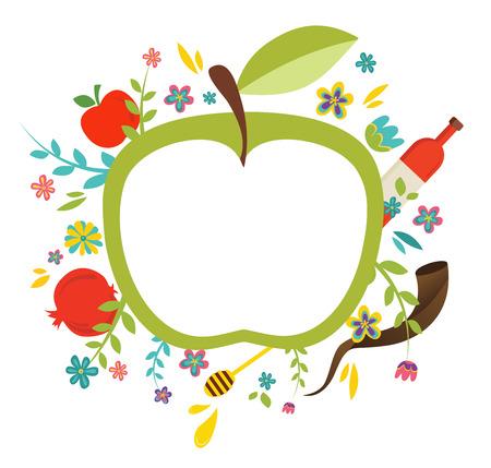 manzana: Diseño de la tarjeta de felicitación para el Año Nuevo judío, Rosh Hashaná. Vectores