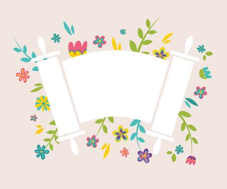 Joodse Torah omringen met verse vintage bloemen Stock Illustratie