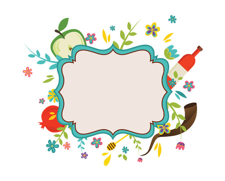 vintage frame  surrounding with flowers and Rosh Hashana symbols