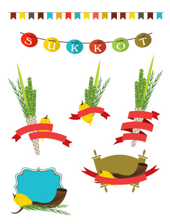 culture decoration celebration: sukkot collection -   four symbols of Jewish holiday Sukkot with sukkah decorations