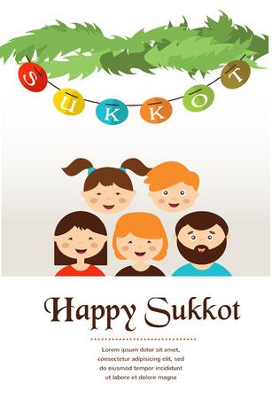 sukkoth: family in the sukkah  . sukkot Jewish holiday Illustration