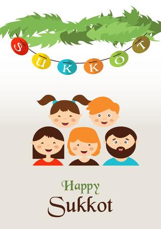 sukkot: family in the sukkah  . sukkot Jewish holiday Illustration