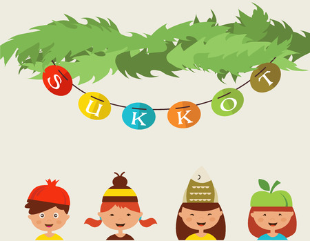 sukkoth: happy sukkot.  kids with costume hats in traditional sukkah