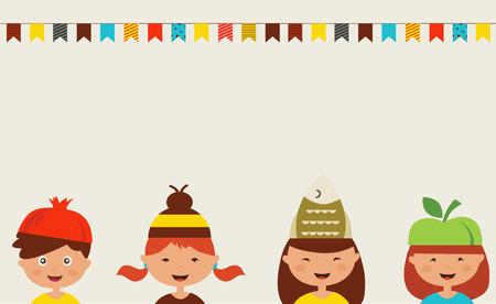 niños vistiendose: invitación para la fiesta de disfraces. Los niños que usan diferentes sombreros Vectores