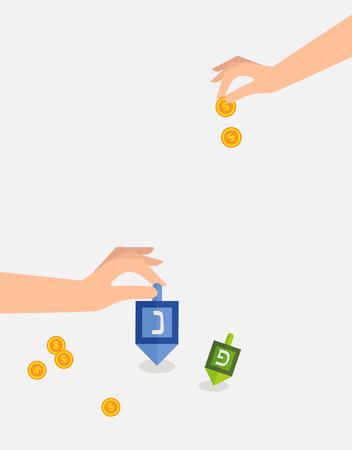 hanukka: hanukkah game , hand spining dreidel and  holding coins