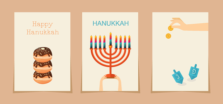 hanuka: Jewish holiday hanukkah three cards . vector illustration Illustration