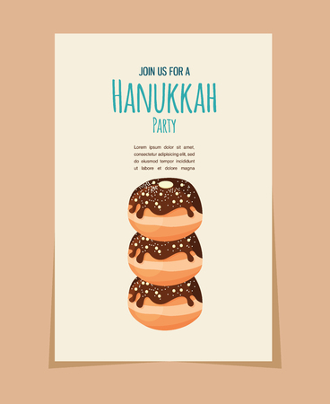fried: Hanukkah doughnut . Traditional  jewish holiday food. illustratio Illustration