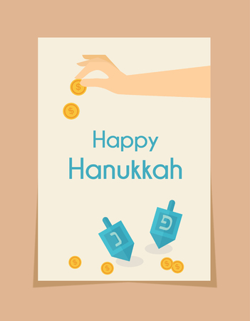 channukah: hanukkah game . hand spining  dreidel and holding coins