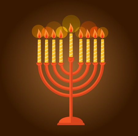 hanukka: Hanukkah menorah  greeting  on brown background. vector illustration