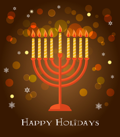 hanukkah: Hanukkah menorah  greeting on brown background.  Illustration