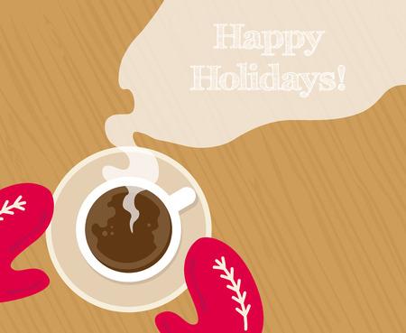 Útulné červené rukavice drží hrnek horké kakao Ilustrace