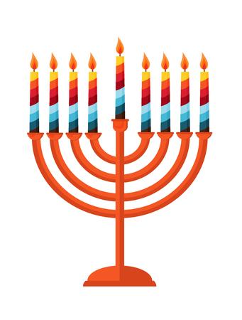 menora: happy hanukkah,  jewish holiday.  Hanukkah meora with colorful candles