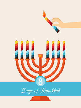 chanukah: eight days of Hanukkah. jewish holiday. hand with candle lightning hanukkah menora Illustration