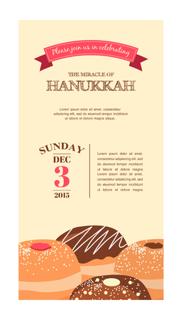 hebrew letters: Happy Hanukkah greeting card design, holiday template for party invitation, vector illustration. Hebrew letters on a Hanukkah dreidel, which stand for the phrase, A great miracle happened here