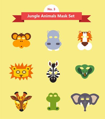 face mask: set of animal masks . set 3. jungle animals . vector illustration