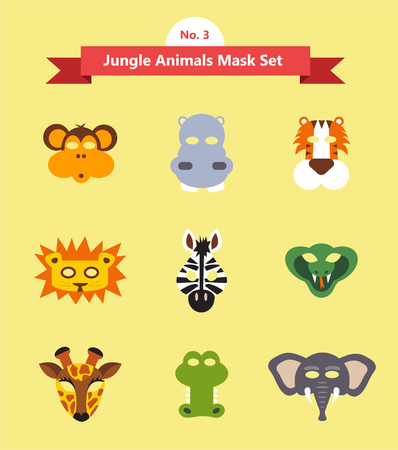 purim carnival party: set of animal masks . set 3. jungle animals . vector illustration