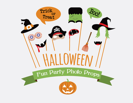 props: Halloween party photo booth collection. holiday illustration
