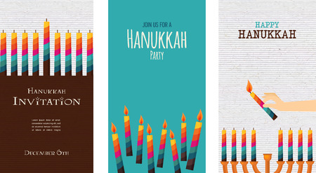 jewish faith: three cards for jewish holiday ,  hanukkah. illustration