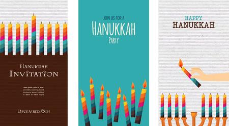 simbolos religiosos: tres cartas de fiesta judío, Hanukkah. ilustración Vectores