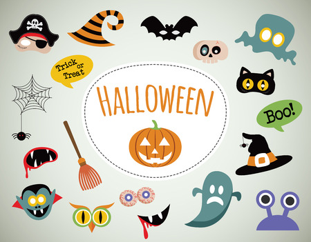 cartoon halloween: Halloween symbols and icons collection. happy illustration