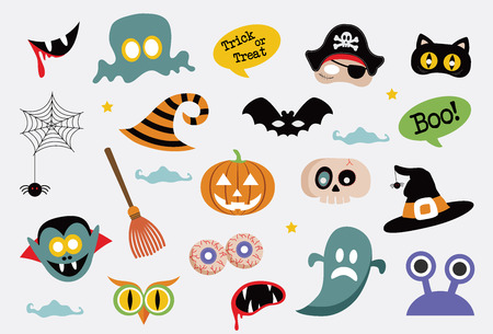 mascarilla: V�spera de Todos los s�mbolos y los iconos de colecci�n. feliz ilustraci�n