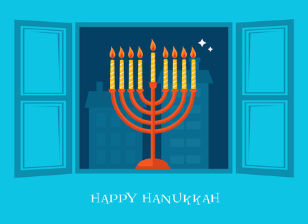 jewish home: open window with  Hanukkah menorah. happy Hanukkah