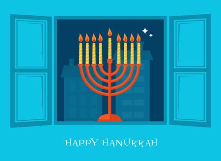 channukah: open window with  Hanukkah menorah. happy Hanukkah