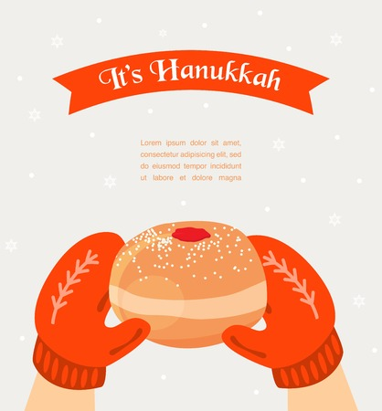 hannukah: Vintage knitted  mittens holding a Hanukkah donut