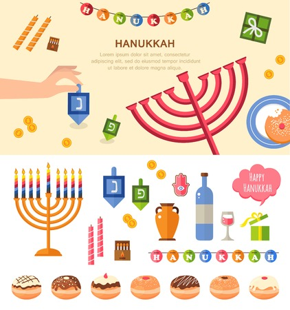 dreidel: Various symbols and items  of hanukkah celebration flat icons set isolated vector illustration Illustration
