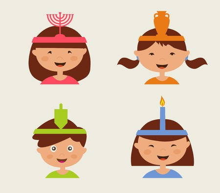 hanuka: children celebrating Hanukkah . illustrated kids isolated n bright background. Hebrew letters on a Hanukkah dreidel, which stand for the phrase, A great miracle happened here Illustration
