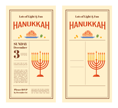 chanukkah: Happy Hanukkah greeting card design, snowing holiday template for party  invitation, vector illustration Illustration