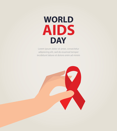 fund world: healthcare and medicine concept. female hands holding red AIDS awareness ribbon