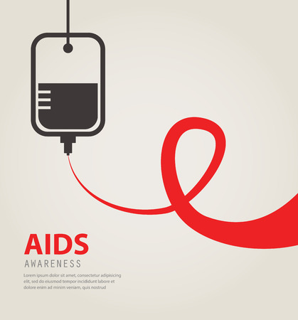 donate: A blood donation bag  with tube shaped as a AIDS red ribbon