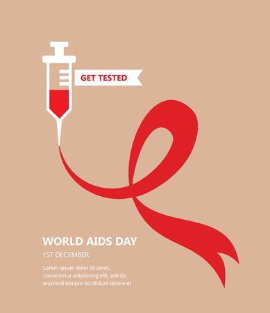 personne malade: Journ�e mondiale du sida. obtenir le concept test�. illustration