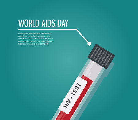 world AIDS day. HIV test tube. illustration